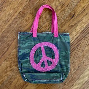 Old Navy Pink Peace Camo Camoflauge Tote Bag